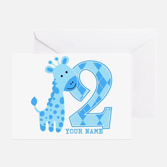 2nd Birthday Blue Giraffe Personalized Greeting Ca