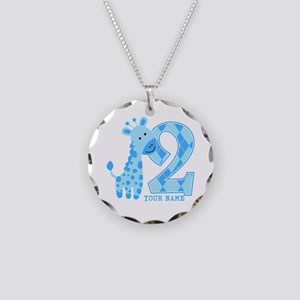 2nd Birthday Blue Giraffe Personalized Necklace Ci