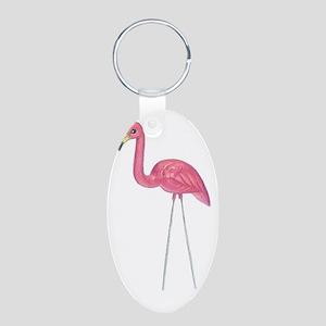 Flamingo Aluminum Oval Keychain