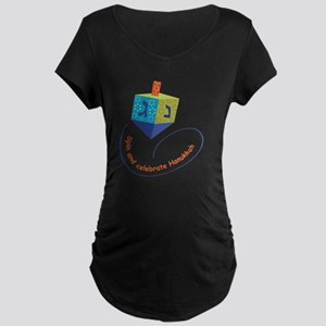 hanukkah blue dreidel with  Maternity Dark T-Shirt