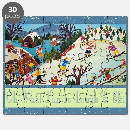 fun to laugh and ski greeting card Puzzle