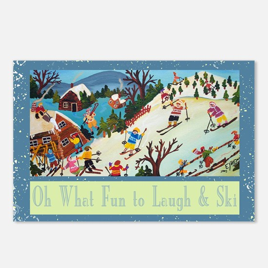 fun to laugh and ski gree Postcards (Package of 8)