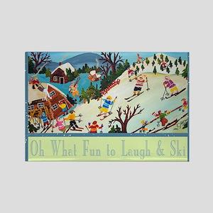 fun to laugh and ski greeting car Rectangle Magnet