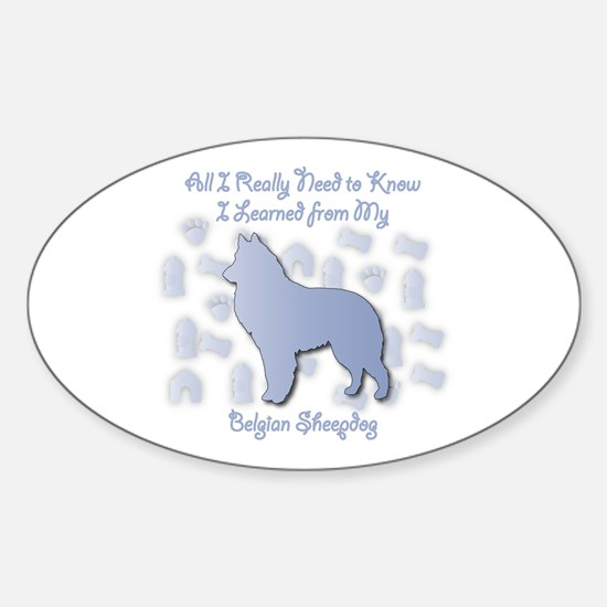Learned Sheepdog Oval Decal