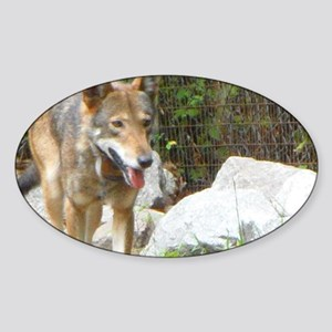 Red Wolf Sticker (Oval)