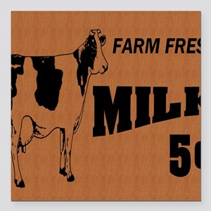 "cow on wooden sign note  Square Car Magnet 3"" x 3"""