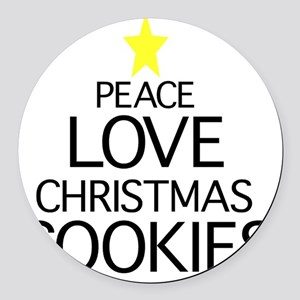 Peace, Love, Christmas Cookies Round Car Magnet