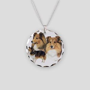 Sheltie Multi Necklace Circle Charm