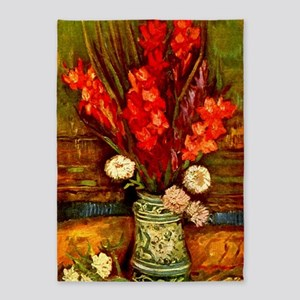 Van Gogh Red Gladioli Floral Fine 5'x7'are