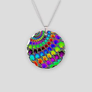 Fractal Hook Rug Necklace Circle Charm