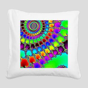 Fractal Hook Rug Square Canvas Pillow