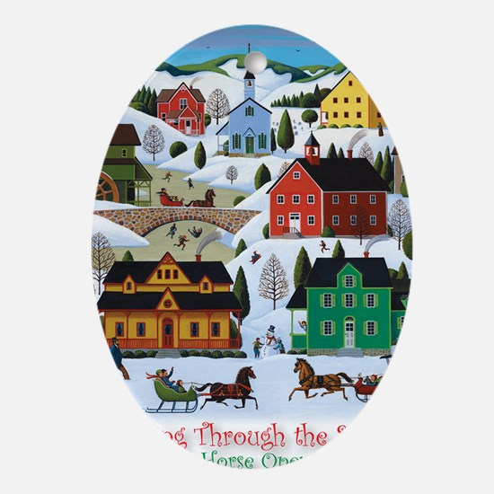 Dashing Thru the Snow Card Oval Ornament