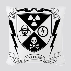 Mad Science Institute BW Woven Throw Pillow