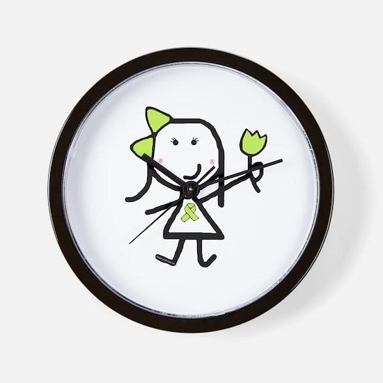 Girl & Lime Ribbon Wall Clock