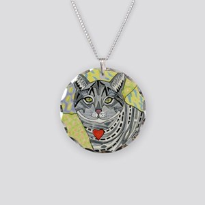 cat-gray-tabby-heart-colors- Necklace Circle Charm