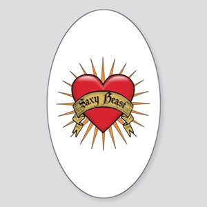 Saxy Beast Heart Tattoo Oval Sticker