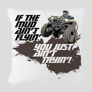 muddin atv Woven Throw Pillow