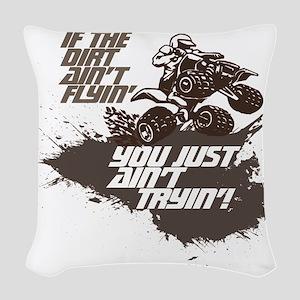 dirt flyin atv Woven Throw Pillow