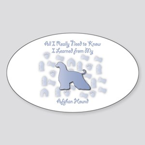 Learned Afghan Hound Oval Sticker