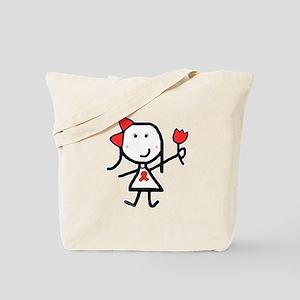 Girl & Red Ribbon Tote Bag
