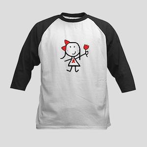 Girl & Red Ribbon Kids Baseball Jersey