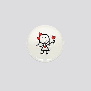 Girl & Red Ribbon Mini Button