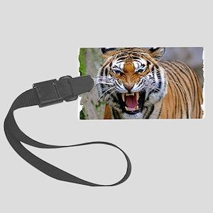 Angry tiger Large Luggage Tag
