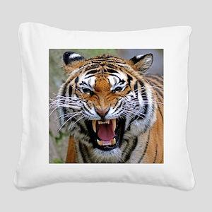 Atiger shirtBlack Square Canvas Pillow
