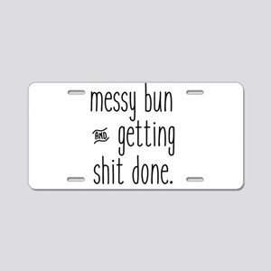 Messy Bun Aluminum License Plate
