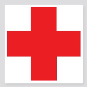 "first_aid Square Car Magnet 3"" x 3"""