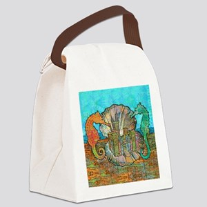seahorseCastleSquare Canvas Lunch Bag