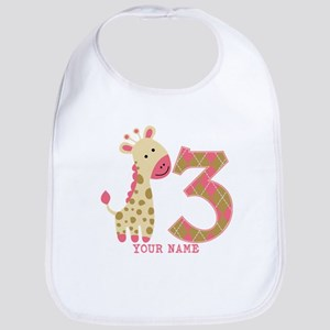 3rd Birthday Pink Giraffe Personalized Bib