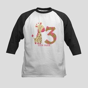 3rd Birthday Pink Giraffe Personalized Kids Baseba