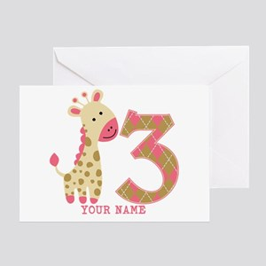 3rd Birthday Pink Giraffe Personalized Greeting Ca