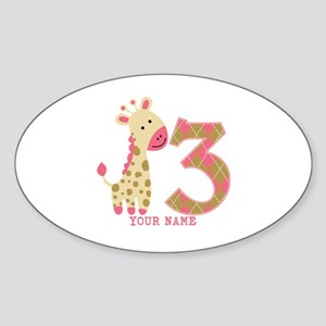 3rd Birthday Pink Giraffe Personalized Sticker (Ov