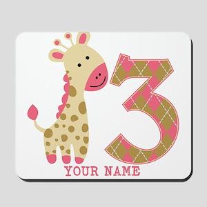 3rd Birthday Pink Giraffe Personalized Mousepad