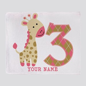 3rd Birthday Pink Giraffe Personalized Throw Blank