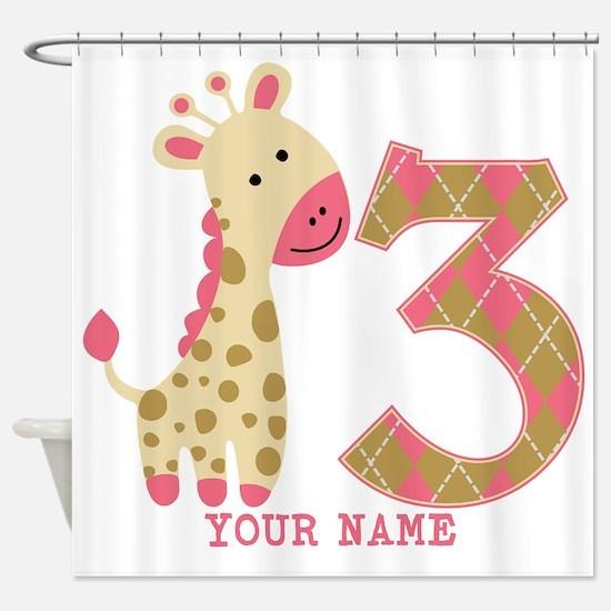 3rd Birthday Pink Giraffe Personalized Shower Curt