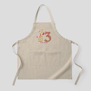 3rd Birthday Pink Giraffe Personalized Apron