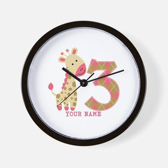 3rd Birthday Pink Giraffe Personalized Wall Clock