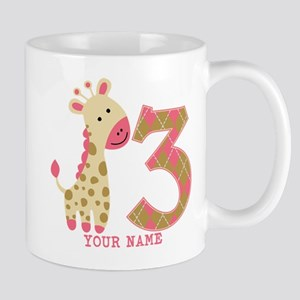 3rd Birthday Pink Giraffe Personalized Mug