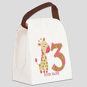 3rd Birthday Pink Giraffe Personalized Canvas Lunc