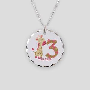 3rd Birthday Pink Giraffe Personalized Necklace Ci