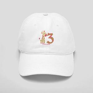 3rd Birthday Pink Giraffe Personalized Cap