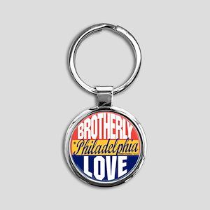 Philadelphia Vintage Label W Round Keychain