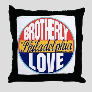 Philadelphia Vintage Label W Throw Pillow