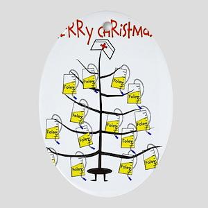 Merry Christmas Nurse Tree Foley Bag Oval Ornament