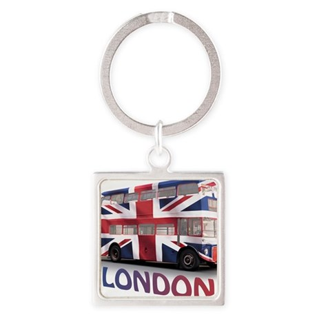 497 London Bus with Union Jack and Square Keychain