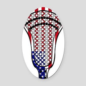 Lacrosse_HeadFlag - Copy Oval Car Magnet