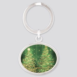 Sparkling Christmas Trees Green Oval Keychain